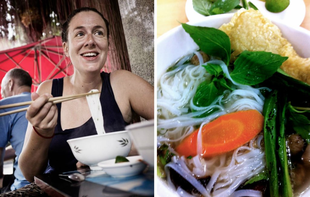 woman eating pho and bowl