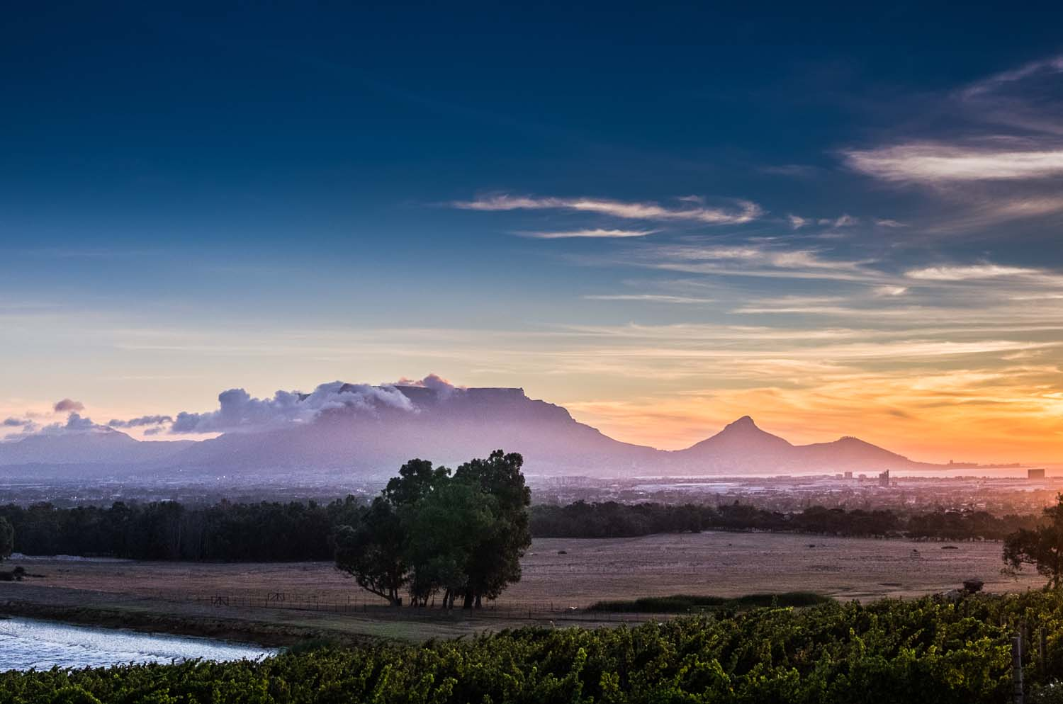 View of table mountain and lion's head during sunset