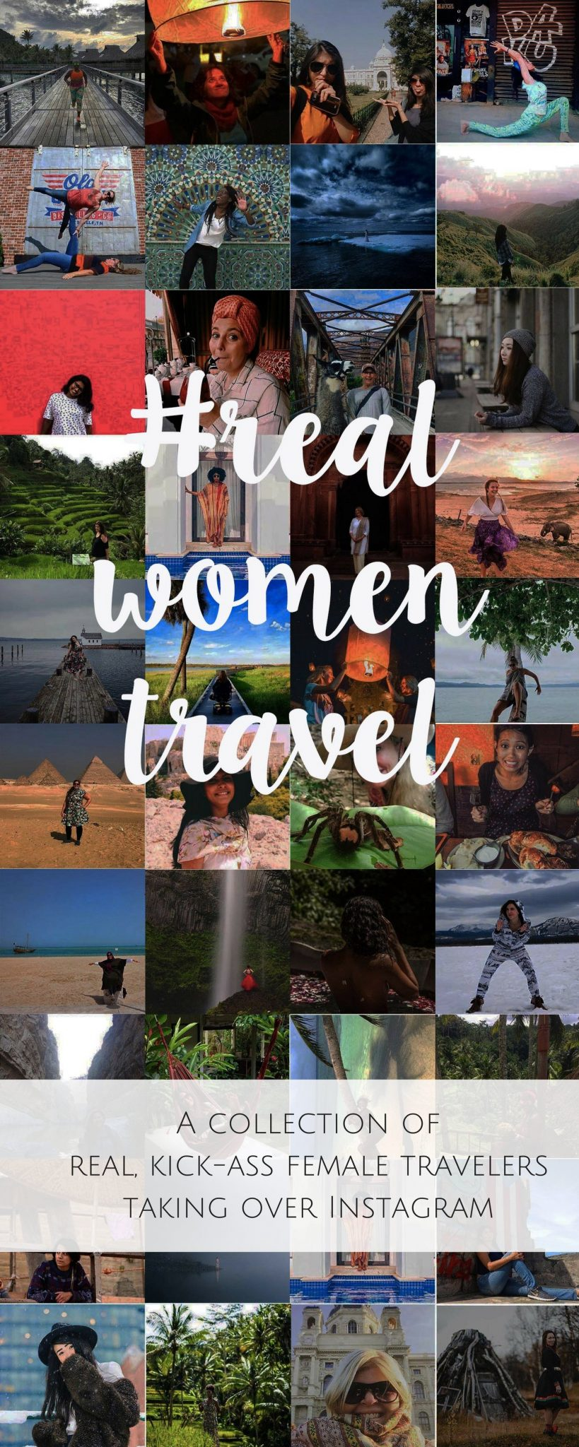Collage of square images of female travelers with text overlay - #realwomentravel