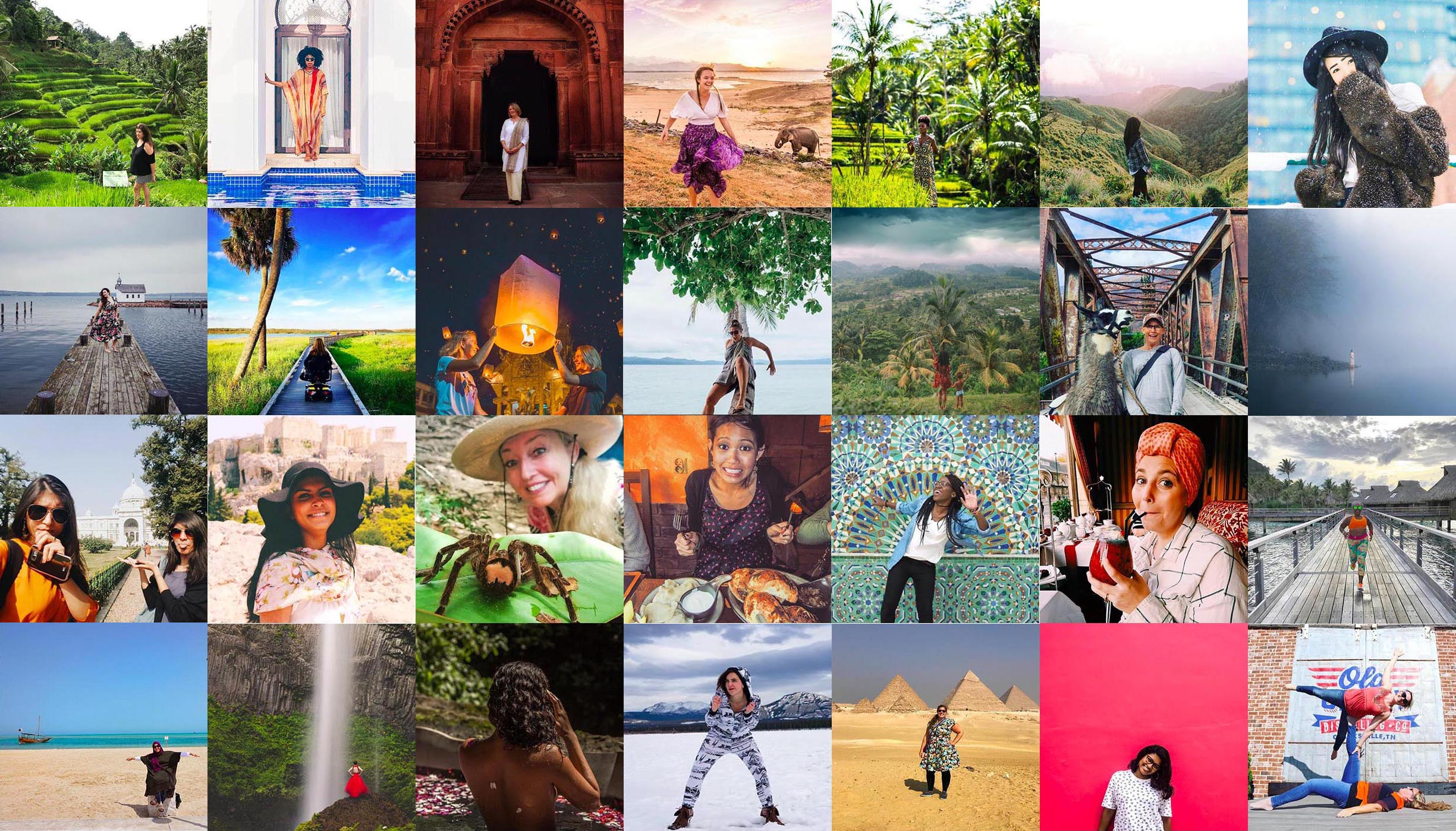 Collage of square images of female travelers