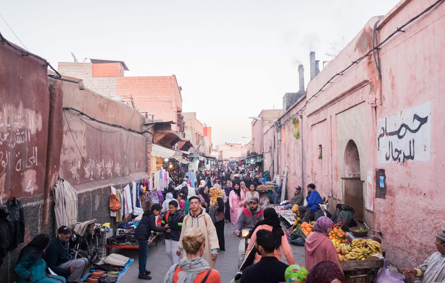 Busy street in the Marrakech medina