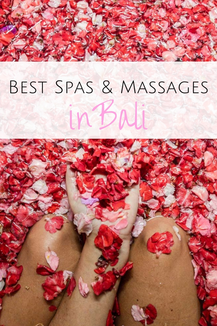 Balinese Massage, cream bath and flower bath? I am sharing my favorite places for a good massage & best spas in Bali - from fun day spas to fancy hotel spas all over Bali.  #bali #indonesia #spa Best spa in Bali | Best massage in Bali | Luxury spas in Bali | Spa for Balinese massage | Best spas in Seminyak | Best spas in Canggu | Best spas in Ubud | The best Ubud spas