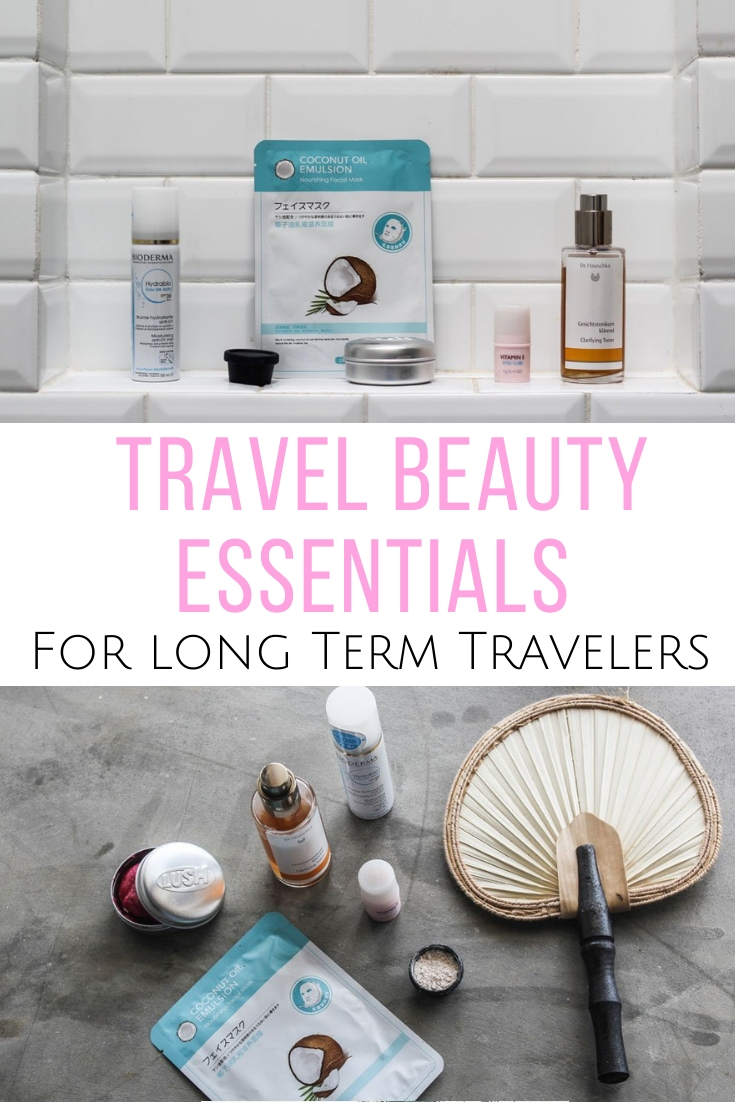 What's to pack for the road? Here is what travel beauty essentials to pack if you are a long term traveler and live out of a suitcase.  #beauty #travel  What beauty products to pack for a long trip | Travel beauty products | Travel cosmetics | What shampoo bars are best | What beauty products to pack for travel