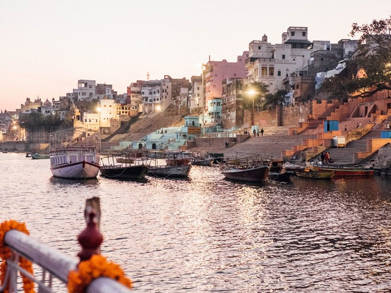 View from a boat on the Ganges in Varanasi, India