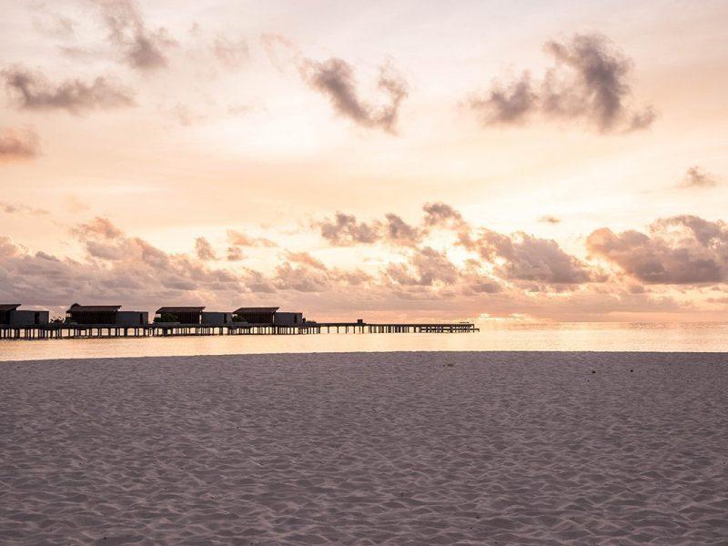 Beach in front of Park Hyatt Hadaha in Maldives during sunset